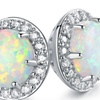 White Fire Opal Round Stud Earrings by Peermont