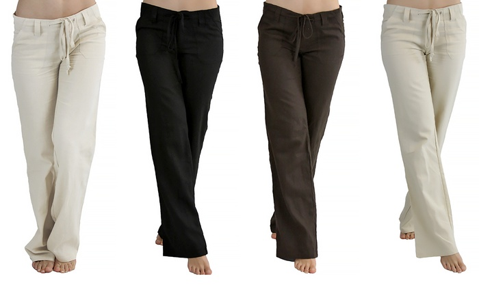 Women's Drawstring Linen Pants | Groupon Goods