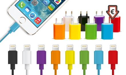Câbles de chargement 1 à 3 mètres iPhone 5/5S/5C/SE/6/6S/6+/6S+/7/iPad +Prise murale en option, dès 2,99€ (jusqu'à -85%)