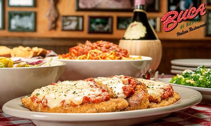 50 Off Family Style Italian Cuisine At Buca Di Beppo