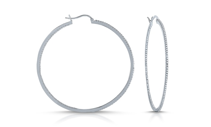 Platinum Plated Large Diamond Accent Hoop Earrings