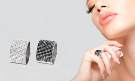 Anello a fascia con cristalli Swarovski®