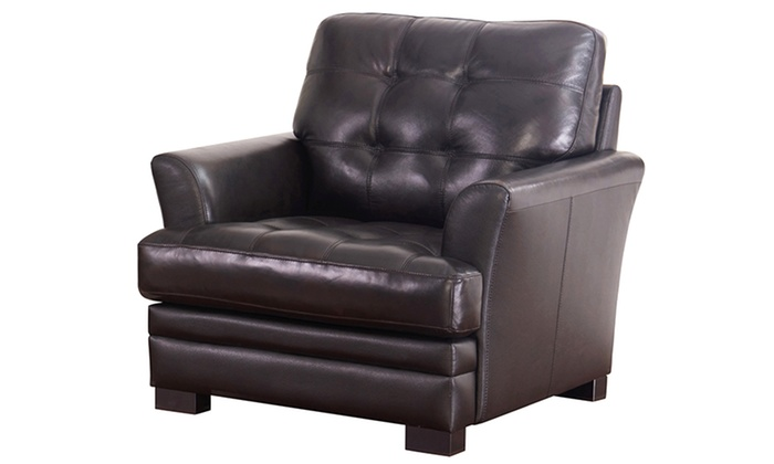 ... Abbyson Living Demi Top Grain Leather Living Room Furniture: Abbyson  Living Demi ...