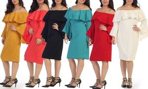Women's Off-the-Shoulder Plus-Size Dress