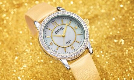 August Steiner Armbanduhr mit Diamanten und Kristallen von Swarovski® in der Farbe nach Wahl (Koln)