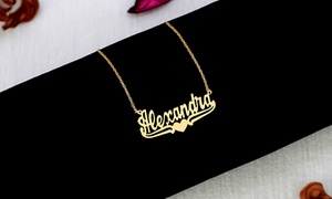 Up to 94% Off Custom Name Necklace with Lower Tails and Heart