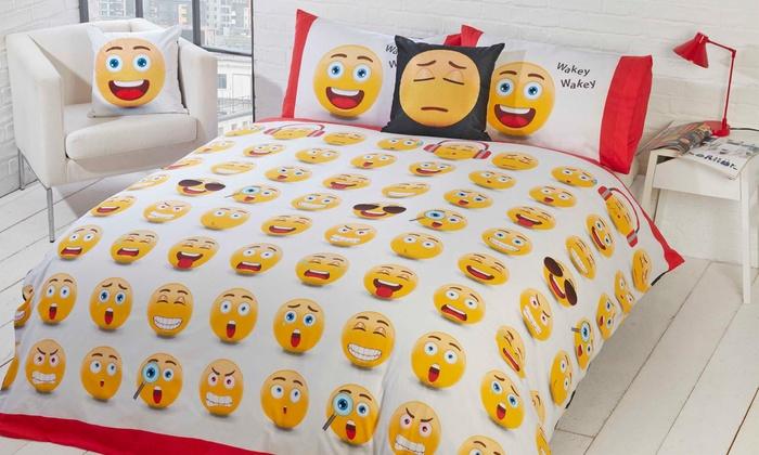 housse de couette emoji groupon shopping. Black Bedroom Furniture Sets. Home Design Ideas