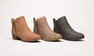 Olive Street Women's Dot Laser-Cut Booties | Groupon Exclusive