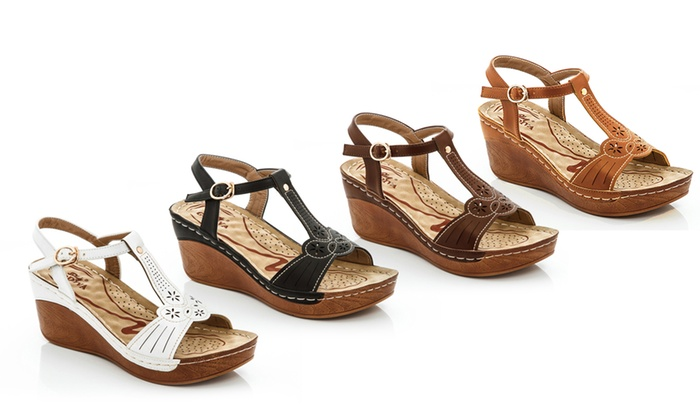 ccf1e1110d015 Lady Godiva Women s T-Strap Wedge Sandals (Sizes 6   9)