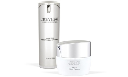 L'Reve 60 Second Instant Facial Lift Serum (0.50 Fl. Oz.) and Pearl Night Cream (1.7 Fl. Oz.)