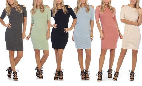 Women's Midi Open-Shoulder Day-to-Night Dress