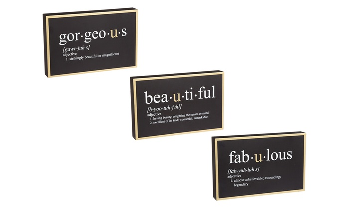 Marvelous Fabulous, Gorgeous, And Beautiful Definition Wall Signs (3 Piece) ...