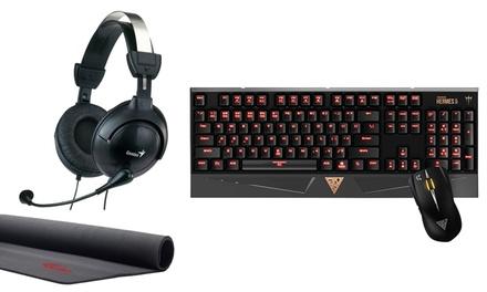 Pack Gamer Essential Genius con teclado, ratón, auriculares y alfombrilla