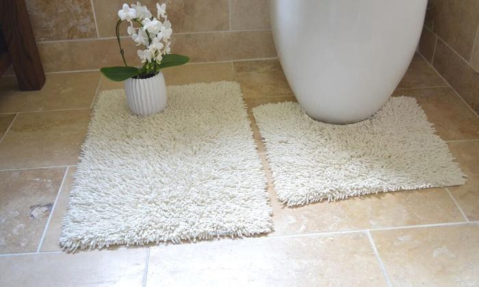 Pile Bath And Pedestal Mat Set Groupon Goods