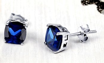 2.25 CTW Lab-Created Blue Sapphire Stud Earrings in Sterling Silver