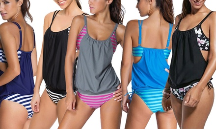 Stripe and Floral Print Tankini in Choice of Design
