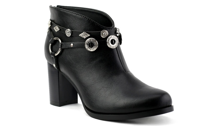 Olivia Miller Whitlock Women's Concho Detailed Ankle Booties