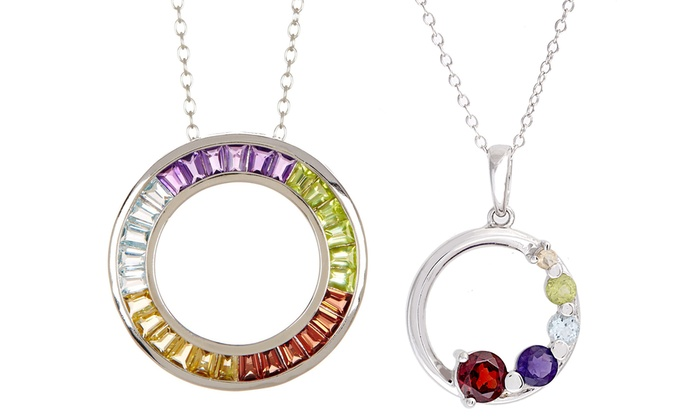 150 700 cttw gemstone pendants groupon goods 150 700 cttw multicolored gemstone circle pendants aloadofball Image collections