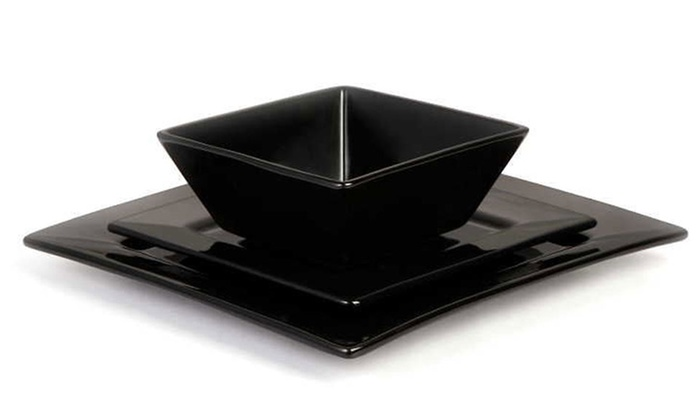 12 Piece Black Square Dinner Set Groupon