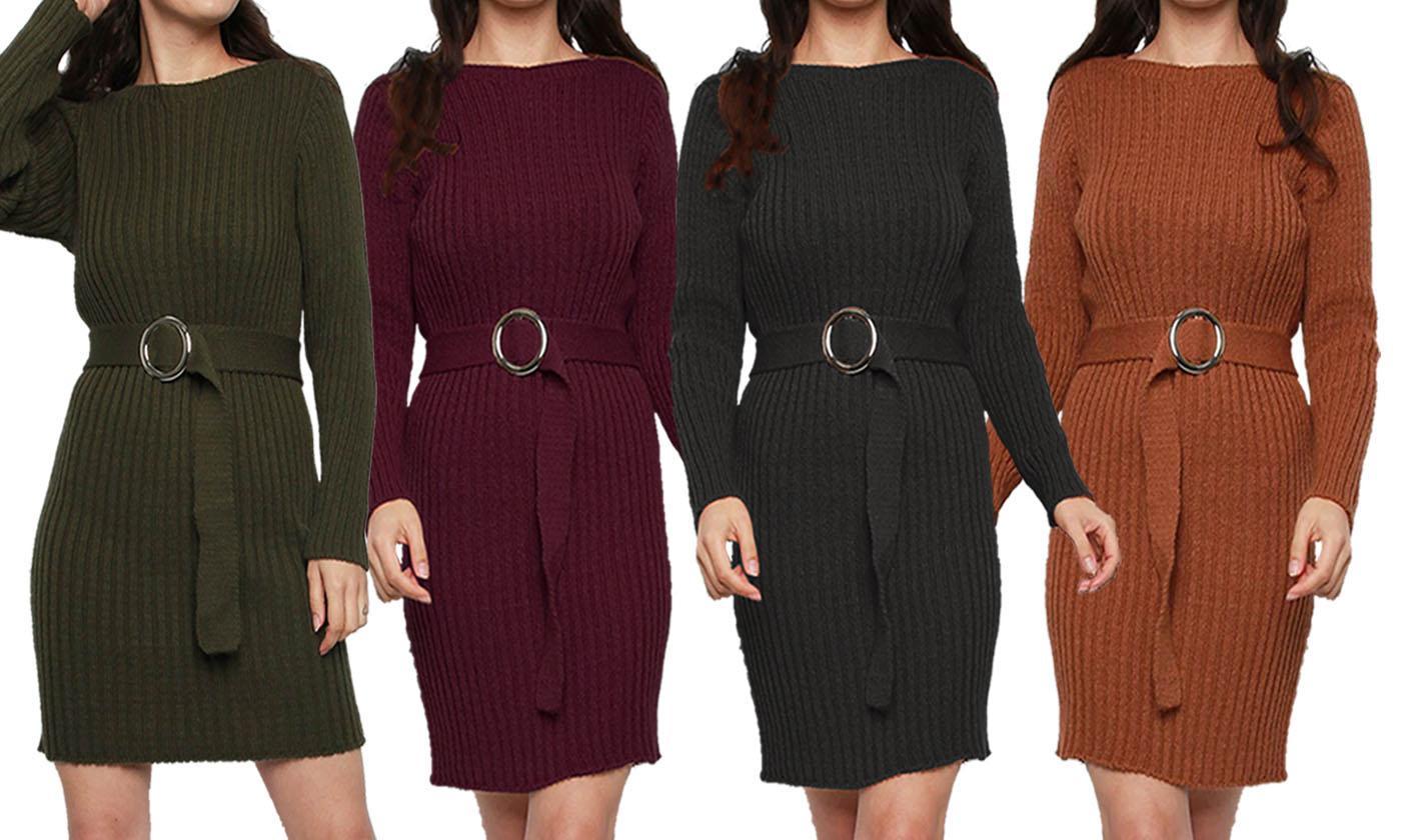 Rib Knit Buckle Belt Jumper Dress