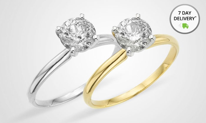 1 CTW Diamond Solitaire Ring with 14-Karat White or Yellow Gold: 1 CTW Diamond Solitaire Ring with 14-Karat White or Yellow Gold. Multiple Options Available. Free Returns.