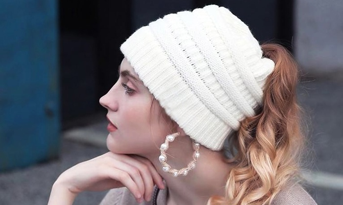Up To 74% Off on Women s Soft Knit Ponytail Hat  6fb370a4848