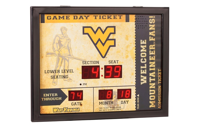 NCAA Game Ticket Wall Clock with Built-In Bluetooth Speaker