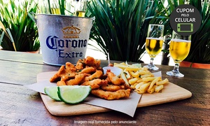 Peixe In Box: Fish 'N Chips ou lula à milanesa + cerveja Corona no no Peixe In Box - Mossunguê