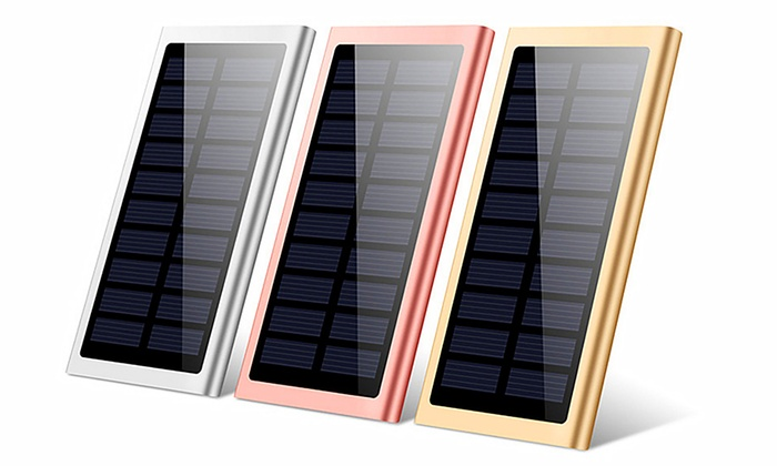 One or Two Solar Panel 10000mAh Power Banks with LED Torch
