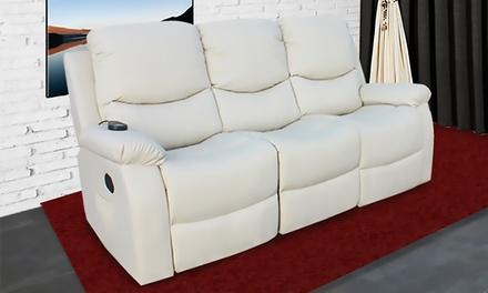 Sofa de modelage chauffant en cuir synthétique avec 8 moteurs, 3 places, ECO DE®