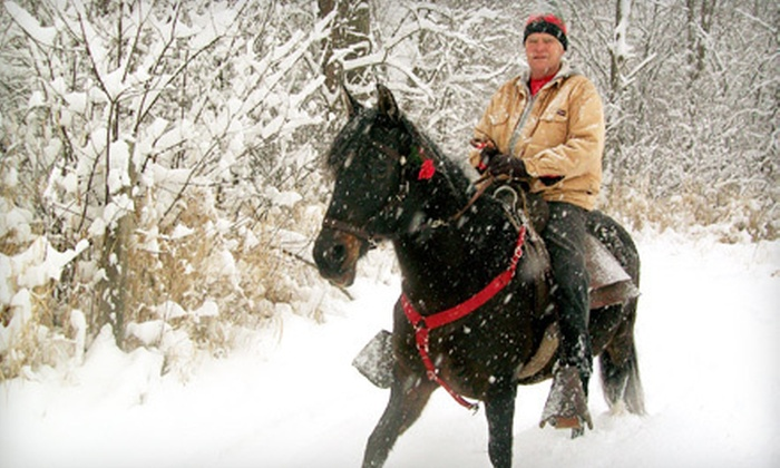 Hiddenbrook Farm - Cambridge: $79 for a Winter Trail Ride for Two with Cider and Photo at Hiddenbrook Farm ($230 Value)