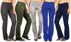 Women's Solid-Color Fold-Over-Waist Flared Yoga Pants (3-Pack): Women's Solid-Color Fold-Over-Waist Flared Yoga Pants (3-Pack)