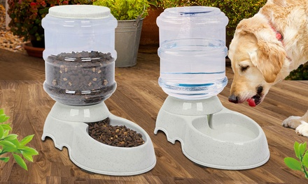 $25 for an Automatic Pet Water Bowl and Auto Food Feeder