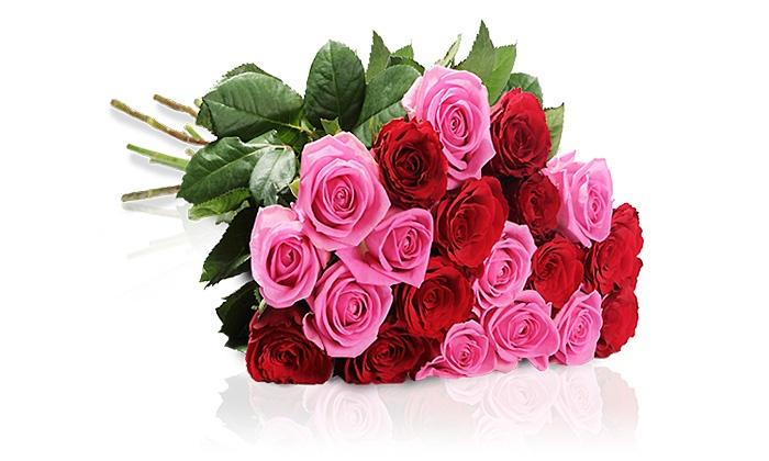 MIFLORA: Prächtiger Rosenstrauß aus 15 roten und pinken Rosen inkl. Grußkarte mit individuellem Text von MIFLORA (53% sparen*)