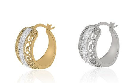 Diamond Accent Filigree Huggie Hoop Earring with French Lock Closure