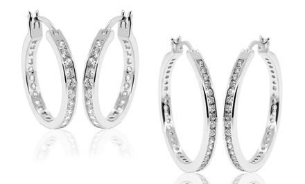 Cubic Zirconia Hoop Earrings in Sterling Silver from $19.99–$27.99