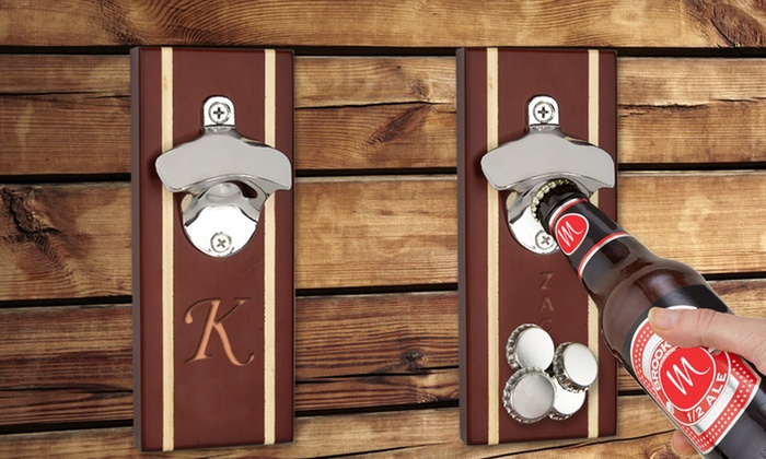 personalized walnut bottle opener magnetic cap catcher groupon. Black Bedroom Furniture Sets. Home Design Ideas