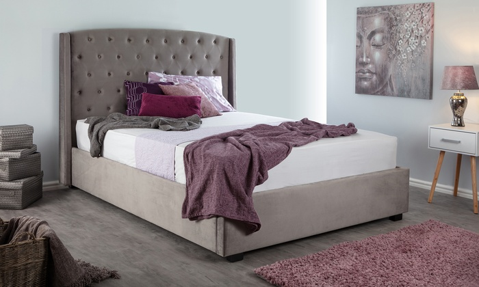 Woodcroft Brushed Velvet Bed for £319.89
