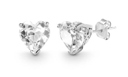 Nina & Grace 4.50 CTTW White Sapphire Earrings in Sterling Silver
