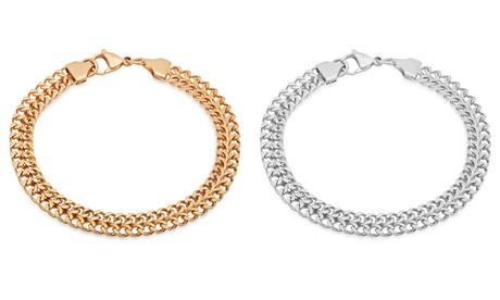Steeltime Men's Stainless Steel Double Cuban Chain Link Bracelet 4c3bba82-cd35-4398-8296-8da305b4fdf3