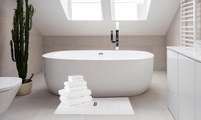 Linum Cotton White Towel and Bath Mat Set (7-Piece): Linum Cotton White Towel and Bath Mat Set (7-Piece)