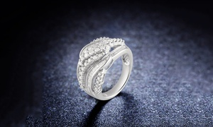 1.00 CTTW Diamond Round and Baguette Ring in Silver by DiamondMuse