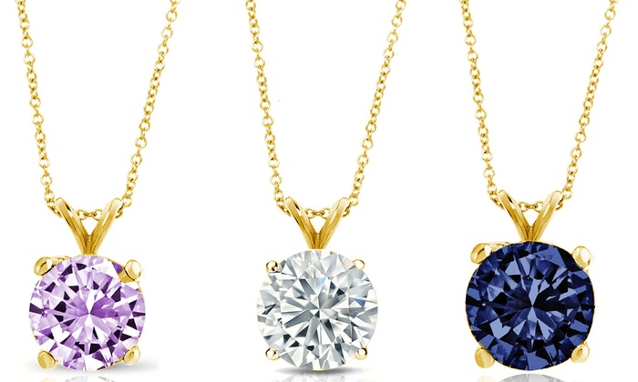 100 ctw birthstone pendants in 14k solid gold groupon 100 ctw birthstone pendants in 14k solid gold aloadofball Choice Image