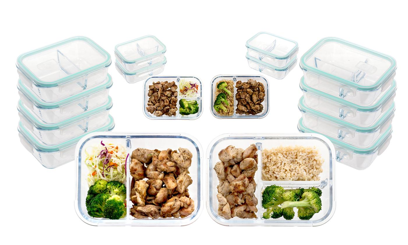 2-Pk Oven-Safe Glass Meal Prep Containers with Vented & Locking Lids