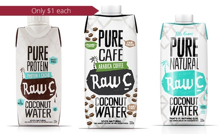 Raw C Coconut Water: Straight Up 16Pack $16, Protein 16Pack $16 and Coffee 24Pack $24 Don't Pay up to $66