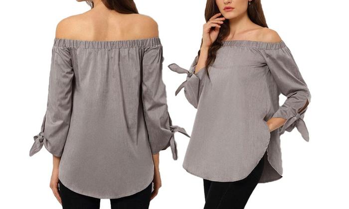 Long-Sleeved Off-the-Shoulder Top