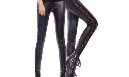1 ou 2 paires leggings imitation cuir et dentelle