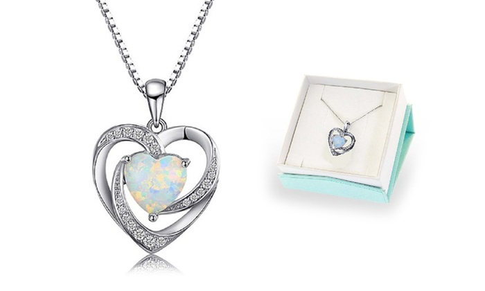 Up to 82 off on 300 ctw fire opal heart pendant groupon goods 300 ctw fire opal heart pendant in sterling silver by diane aloadofball Choice Image
