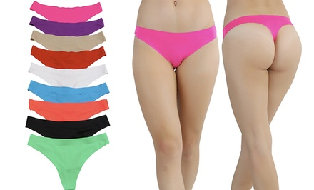 Women's Invisible Panty Line Laser-Cut Thongs (6-Pack)