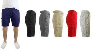 Men's 100% Cotton Belted Cargo Shorts